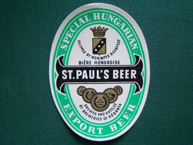 St.Paul´s Beer - Special Hungarian Export Beer,Shipped By Monimpex Budapest,Biére Hongrdise,Brewed And Bottled By Breweries Of Köbánya,Maďarsko