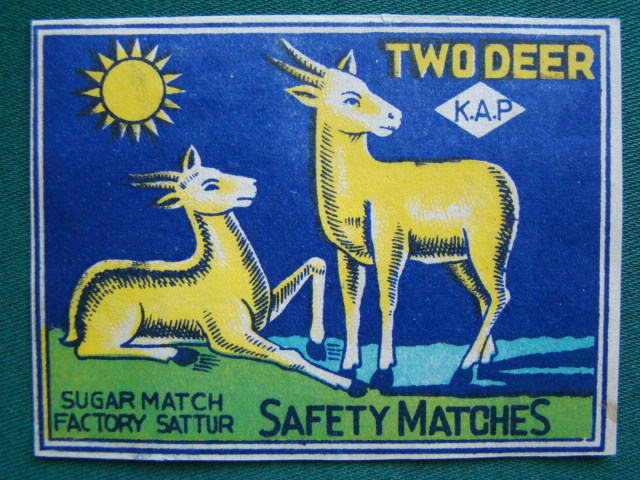 Two Deer K.A.P. - Safety Matches (9,4 cm. x 7 cm.)