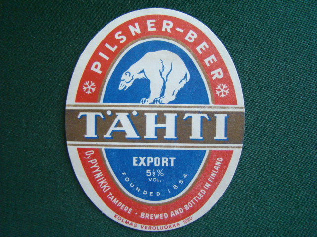 Tähti - Pilsner Beer,Export,Brewed And Bottled In Finland,Finsko