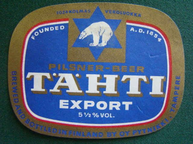 Tähti - Pilsner Beer,Export,Brewed And Bottled In Finland By Oy Pyynikki,Finsko