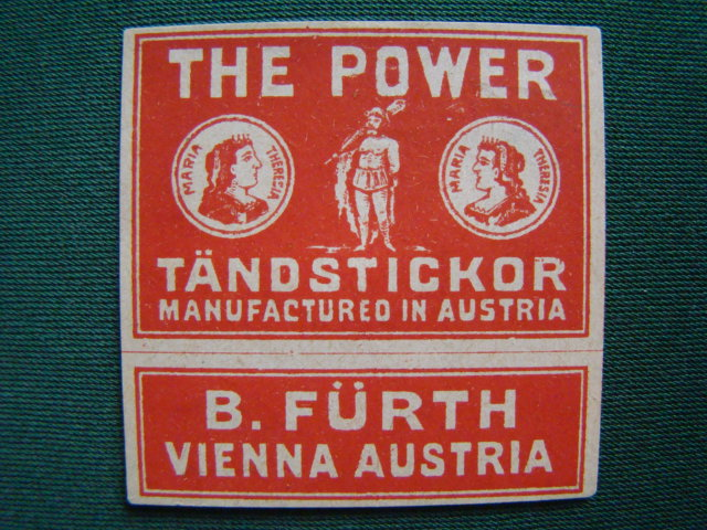 B - The Power Tändstickor - B.Fürth - Vienna Austria / 55 x 55 mm.